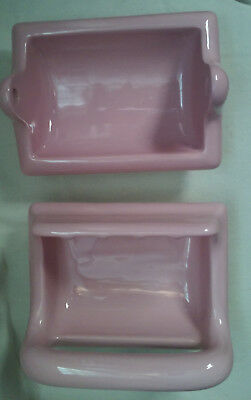 Mid Century Pink Tilecrest Ceramic Recessed Bathroom Soap And Paper Holders Usa
