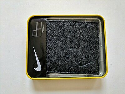 3ed9db98f5 Nike Golf Mens Black Passcase Textured Genuine Leather Wallet With Flip ID  New