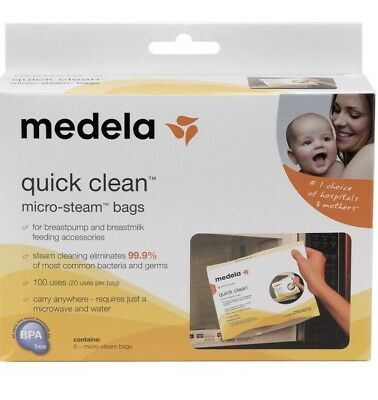 Lot MEDELA - QUICK CLEAN MICRO STEAM BAGS - 10 BAGS/2 BOXS #87024, NEW