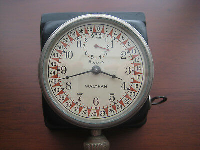 Vintage Waltham 8 Day Car Clock with Telephone Dial w/both Steel and Wood Mounts