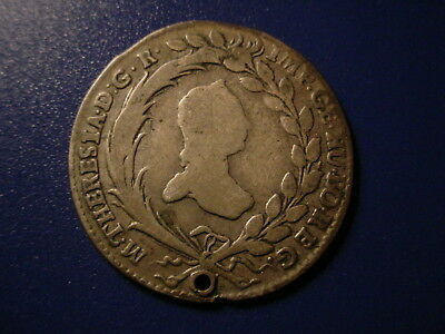Austria - Silver -1765 10-Kr In Nice But Holed Condition