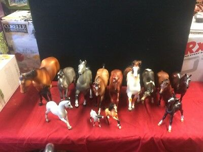 """Lot of 13 BREYER HORSES ~ Horse Sizes 3"""" - 10"""" Inch ~ Very Nice"""