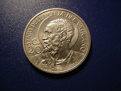 Vatican 1932 20-Centesimos In Brilliant Uncirculated Condition