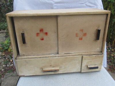Old Vintage Wooden Hand Made Medicine Apothecary Wall Cabinet Chest Cupboard