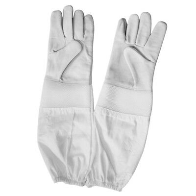 Beekeeping Bee Gloves - Soft White Goats Leather with Cotton Gauntlets White