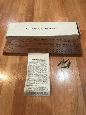 Vintage Taiwan Drueke? Hardwood Cribbage Board Game With 6 Pegs #2422