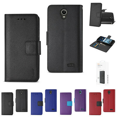 ZTE Maven 3 / Overture 3 / Prestige 2 Flip Folio Wallet Case with Folding Stand