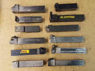 Large Lot of Lathe Tool Holders, 1in. Shanks, 12 Pcs. All Usable, Sandvik, Kenna