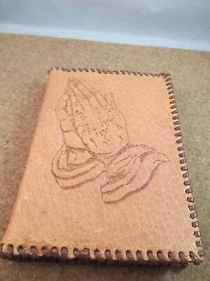 Vintage Leather Bible Cover Hand Tooled Praying Hands New Testament