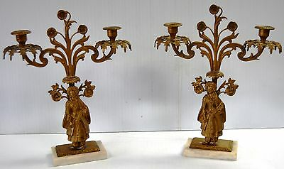 "Pair of Antique Gilt Bronze French Gilded Candelabras  on Marble Base 16""x12.5"""