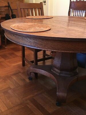 Antique Oak Round Dining Pedestal Table w Four Leaves 54x30