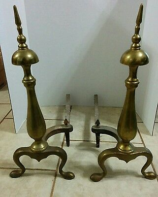 "Vintage Solid Brass and Cast Iron Andirons Firedogs Pair 18"" tall"