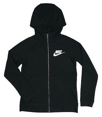 Nike Girls Modern Full Zip Hoodie Sweater Shirt Black/White New