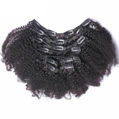 Luxury Brazilian Clip In Afro Kinky Curly Virgin Human Hair Extensions 7pcs 120g