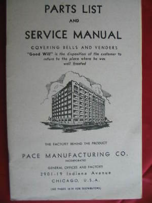 PACE COMET Slot Machine - Front & Side Vender Parts & Service Owners MANUAL Orig