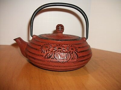 Japanese Cast Iron Red Tea Pot With Strainer Basket