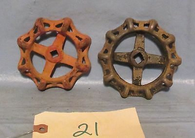 Vintage Industrial Machine Age 2  Water Valve Handles Steampunk Art used