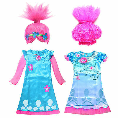 Kid Baby Girl Fancy Dress Trolls Princess Poppy Costume Outfit Party Clothes Wig