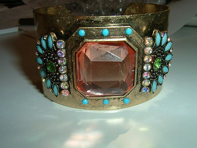 Vintage French Brass Turquoise And Paste Stone Bracelet