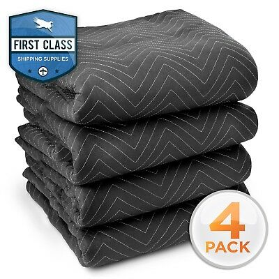 """4 Moving Blanket Furniture Pads - Ultra Thick Pro - 40"""" x 72"""" Black"""