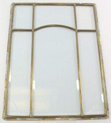 Beveled Glass Panel - Antique Leaded Brass - From German Wall Clock Circa 1890's