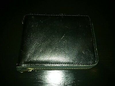 Amity Leather Vintage Mens Black Ziparound Wallet L@@K