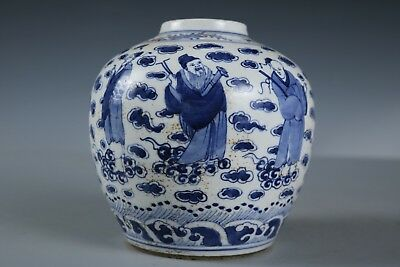 Chinese Beautiful Blue and white Porcelain Figure Pot
