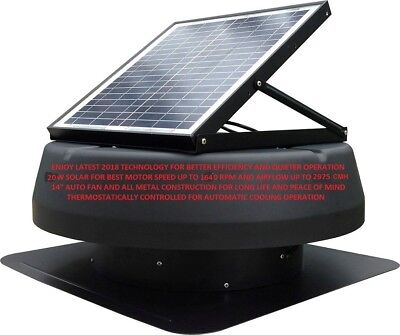 Solar Roof Attic Ventilator 20W Brushless Extractor Cooling- Auto Fan-Efficient