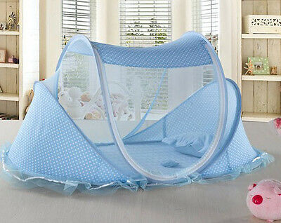 Baby Crib Foldable Infant Bed Mosquito Net Cotton-padded Mattress Pillow Tent