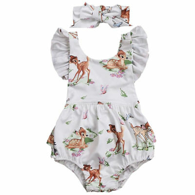 NEW Disney Bambi Baby Girls White Ruffle Romper Bodysuit & Headband Outfit Set