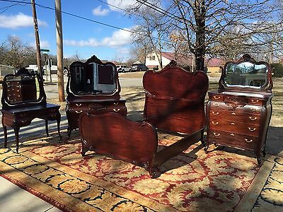 Spectacular RJ Horner 4 Piece Carved Mahogany Bedroom Suite Jb VanSciver