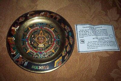 Aztec Multi ENGRAVED Calendar Wall Plaque Plate Sun Stone Mexico Folk Art Maya