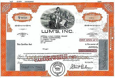 LUM´S Inc. / Caesars World Inc., Florida, 1976 (5 Shares)