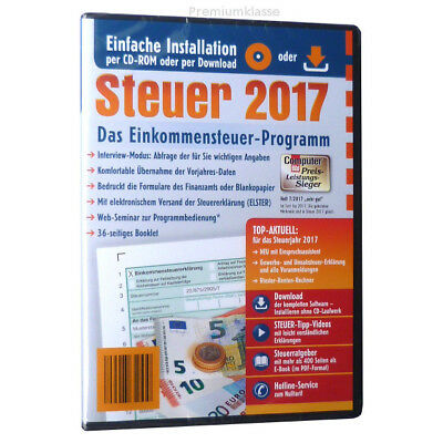 lidl steuersparer 2018 f r steuer 2017 steuersoftware cd rom inkl rechnung neu eur 10 95. Black Bedroom Furniture Sets. Home Design Ideas