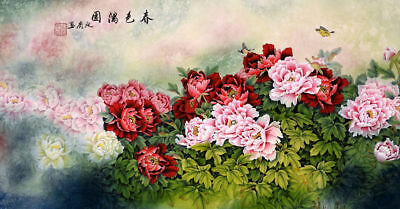 ORIGINAL ASIAN ART CHINESE WATERCOLOR PAINTING-Beautiful flower&butterfly&bird