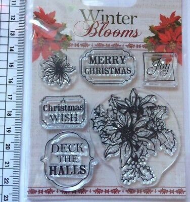 Christmas Text 6 clear rubber stamp Dovecraft  Card craft Winter Blooms