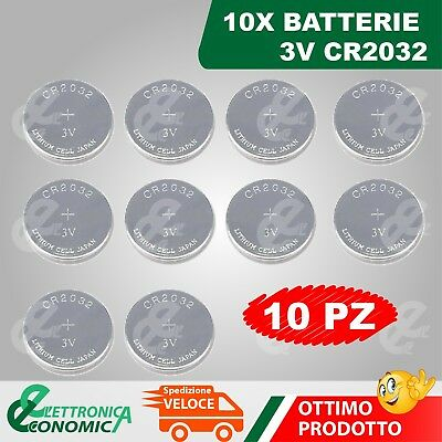 10X Batterie Pila 3V Cr2032 Litio Lunga Durata Sensori Antifurto Casa Wireless E
