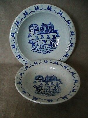 """METLOX POPPYTRAIL PROVINCIAL BLUE Two """"Nested"""" Serving Bowls 8-1/2"""" & 10"""""""