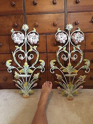 """26""""  VINTAGE WROUGHT IRON METAL TOLE HAND PAINTED Wall Mount CANDLEHOLDERs Pair"""