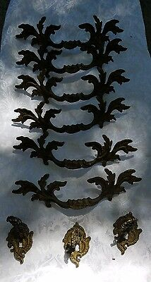 6 Antique Lg and 3 Sm Brass Furniture Drawer Pulls Victorian Hardware b