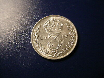 British - Silver - 1916 Threepence In Excellent Condition