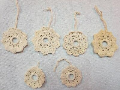 Lot of 6 Vintage Hand Crocheted Shade Curtain Pulls