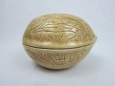 Walnut Ceramic Container Candy / Trinket Dish / Box Holland Mold 1973