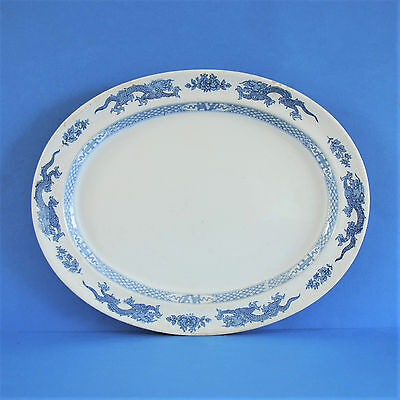 Vintage Booths Silicon China 1930 - Large Oval Plate - Chinese Dragon Motif