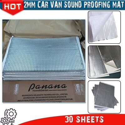 2mm 30 Sheets Car Van Sound Deadening Vibration Proofing Damping Mat Less Noise