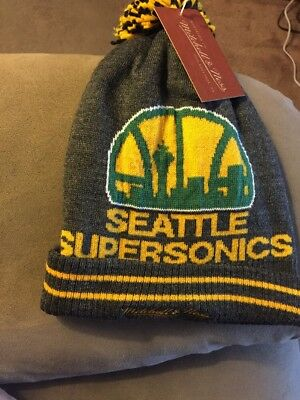f4ea06672d4491 Seattle Supersonics Mitchell & Ness Pom Top Cuff Knit Hat Beanie Charcoal