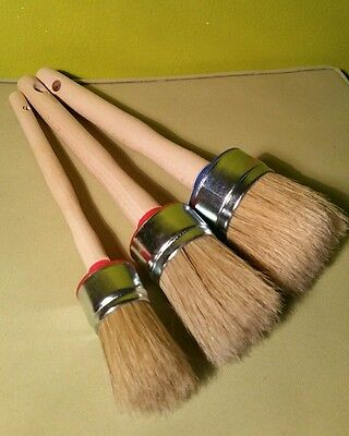 3 set CHALK PAINT  & WAX shabby pure bristle ROUND PAINT BRUSHES 50mm 40mm 20mm