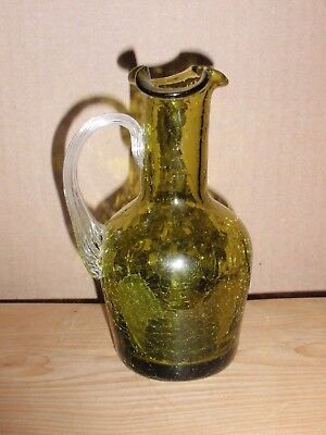 Small Crackle Glass Green Pitcher  5 Inches
