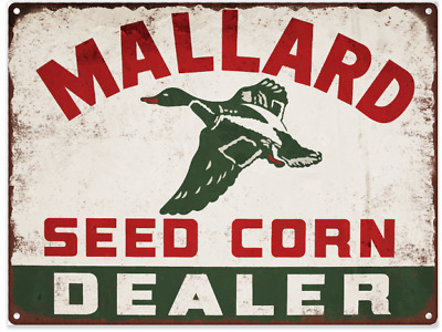 "Mallard Seed Corn Dealer Metal Sign Ad Repro Farming Tractor 9x12"" 60238"