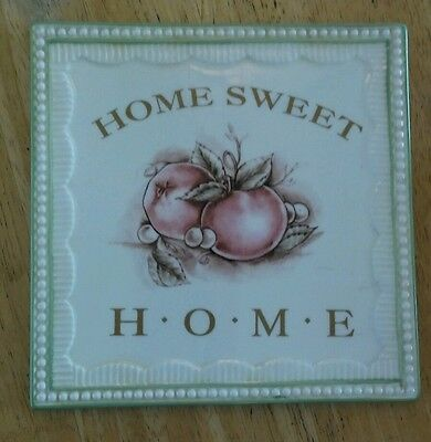"""Home Sweet Home Ceramic Trivet for counter or wall hanging about 6"""" x 6"""""""